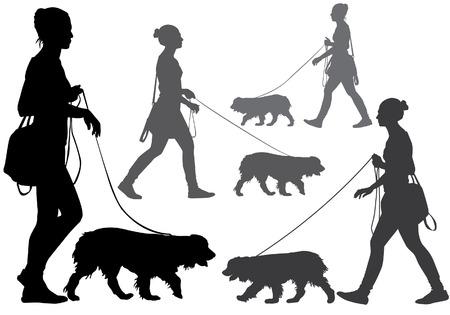 Een vrouw die met een hond aan de leiband. Silhouet op een witte achtergrond.