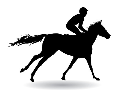 Jockey riding a horse. Horse races. Competition. Silhouettes on a white background.