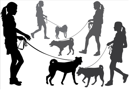 dog walker: Girl walking with a dog on a leash. Silhouette on a white background. Illustration