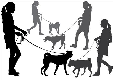 Meisje lopen met een hond aan de leiband. Silhouet op een witte achtergrond.