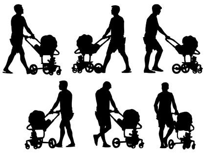 Vader die met een baby in een kinderwagen loopt. Silhouet op een witte achtergrond.