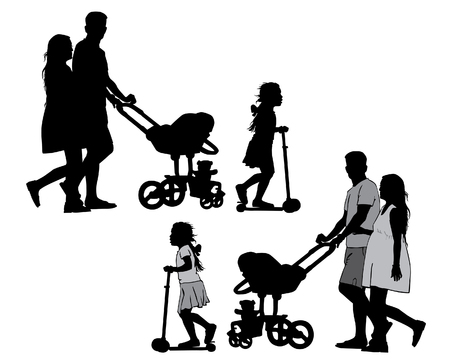 Family with baby and pram on a walk. Man, woman and children. Silhouettes on a white background. Illustration