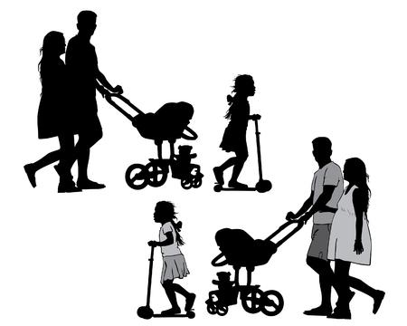 Gezin met baby en kinderwagen op een wandeling. Man, vrouw en kinderen. Silhouetten op een witte achtergrond. Stock Illustratie