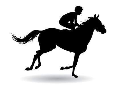 Jockey berijden van een paard. Paardenraces. Wedstrijd. Silhouetten op een witte achtergrond. Stock Illustratie
