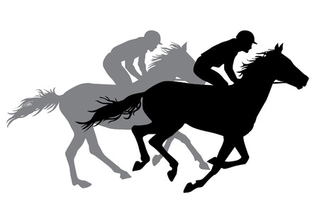 sports symbols metaphors: Two jockeys riding horses. Horse races. Competition. Silhouettes on a white background.