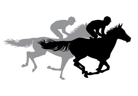 Twee jockeys paardrijden. Paardenraces. Wedstrijd. Silhouetten op een witte achtergrond. Stock Illustratie