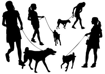 leash: Girl walking with a dog on a leash. Silhouette on a white background. Illustration