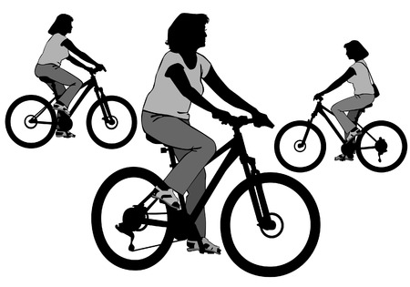 Girl on bike. Woman rides a bicycle on a walk.  Silhouette on a white background.