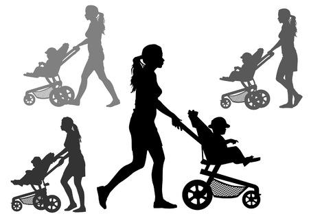 Moeder rolt de baby in de kinderwagen voor een wandeling. Silhouet op een witte achtergrond