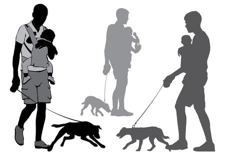 Vader met een baby op handen gaat voor een wandeling. Een man met een hond aan de leiband. Silhouet op een witte achtergrond.