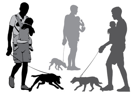 Father with a baby on hands goes for a walk. A man holding a dog on a leash. Silhouette on a white background.