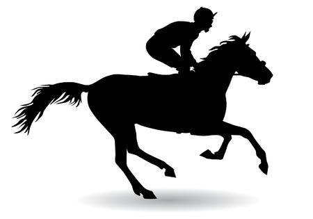 Jockeyrijden te paard. Paardenracen. Wedstrijd. Silhouet op een witte achtergrond.