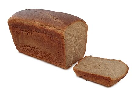 unevenly: Black bread with unevenly cut piece on a white background