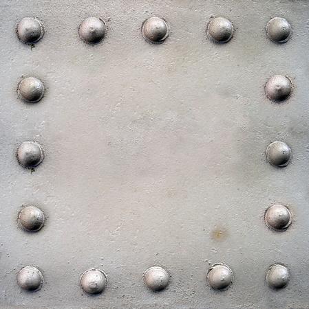 piastra acciaio: Piastra in acciaio con rivetti Archivio Fotografico