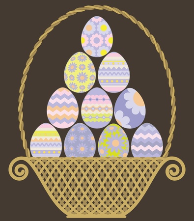 pastel colored: Wicker basket with Easter eggs pyramid  vector