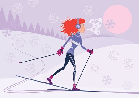 red-haired girl on the cross-country skiing