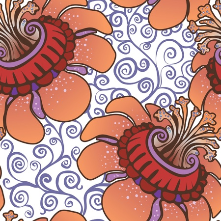 fabled: seamless pattern. fabulous orange flowers Illustration