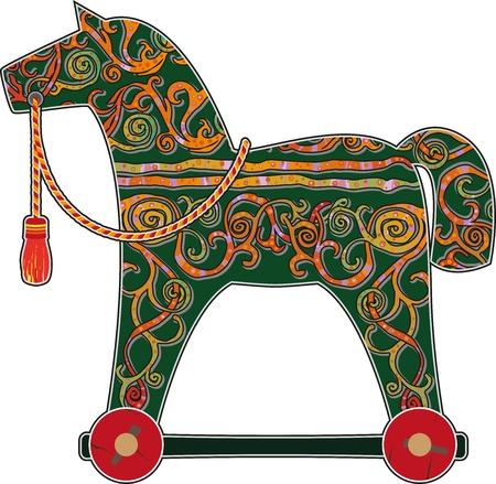 schommelpaard: Kinderen s hand geschilderd hobbelpaard op wielen Stock Illustratie