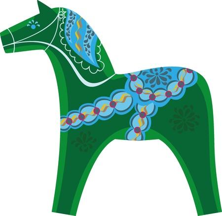 symbol of the year, Swedish souvenir green horse Illustration