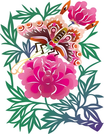 asian: Painted traditional Chinese Paper Cuttings, peonies and butterfly