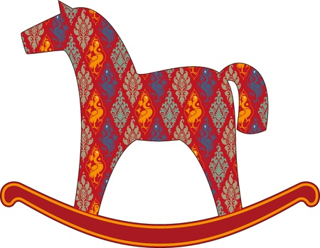 rocking horse: Children s rocking horse, covered with a pattern