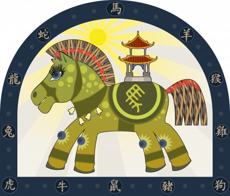 Green horse symbol of the Chinese New Year and the Chinese Zodiac Characters Illustration