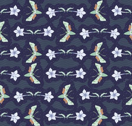 Seamless pattern with flowers and nocturnal moths