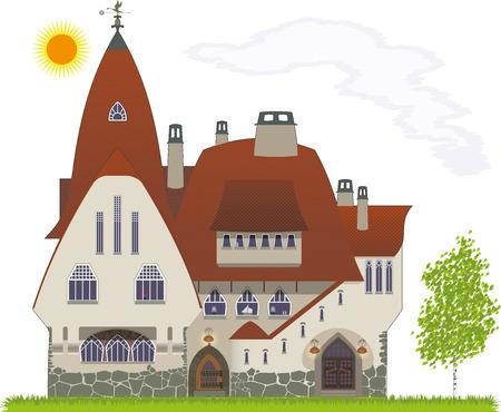 datcha: Ch�teau de conte de f�es, construit dans le style du nord de l'Art Nouveau