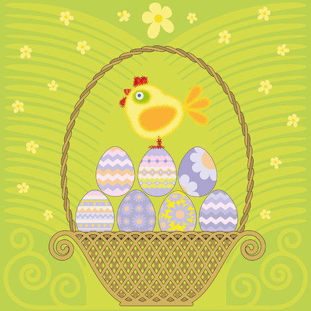 Easter basket with colored eggs and chicken