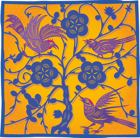 Chinese traditional colored scraps of paper. Three birds on a tree