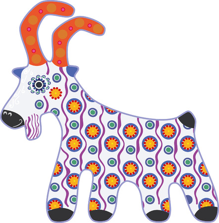 painted toy goat, in baked clay Illustration