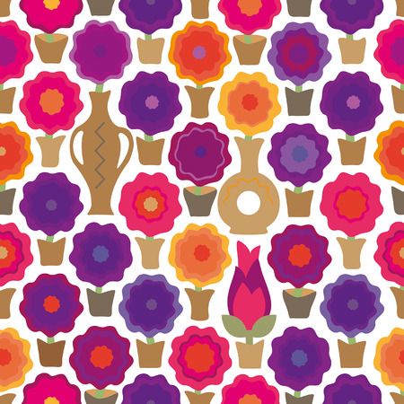 Seamless background in the form of home flowers in pots and vases Illustration