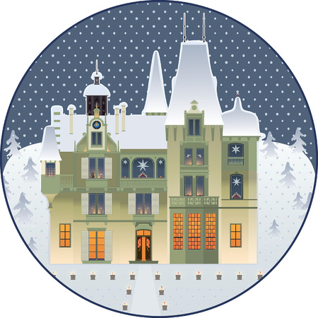 Country palace decorated with Christmas stars and candles Illustration