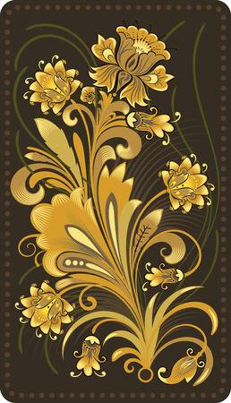 Imitation of traditional Russian Khokhloma painting.  Illustration
