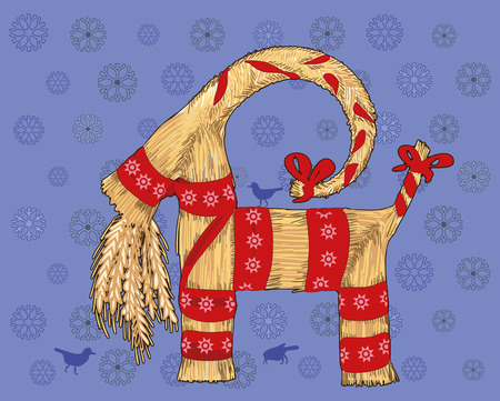 chaume: Symbole traditionnel de No�l Su�dois, la ch�vre de paille. Ch�vre de No�l