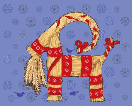 Traditional Swedish Christmas symbol, straw goat. Yule Goat