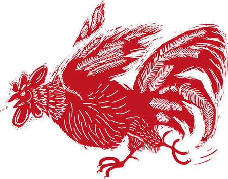 stylized red rooster fighting in the style of woodcut