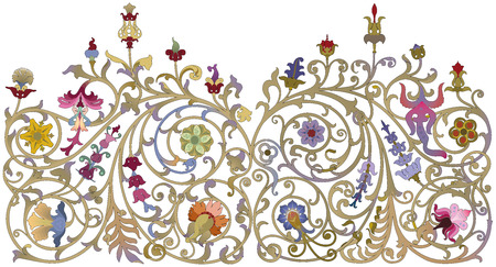 enamel: Traditional Russian ornament in art nouveau style on a white background