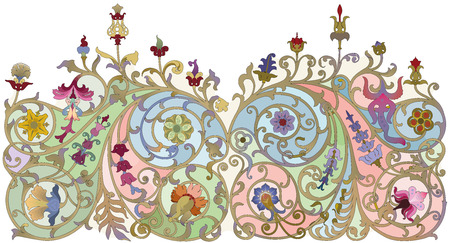 Traditional Russian ornament in art nouveau style on a white background