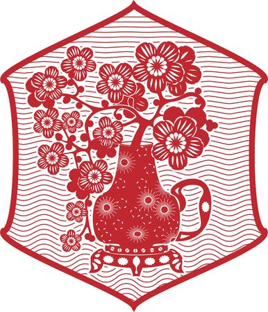 Traditional Chinese red paper clippings, imitation. Sakura branches in a jug