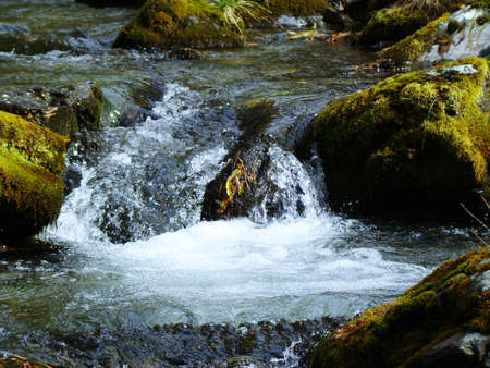 Mountain stream flowing rapidly down the Valley