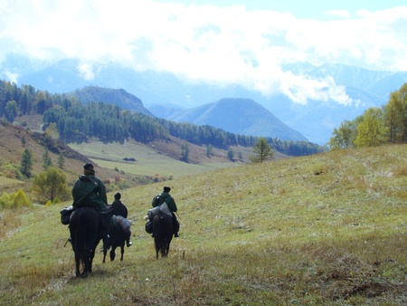 at came: In open spaces of mountain Altai there came golden autumn Stock Photo