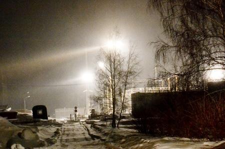 kw: Dark winter night fell by power substation