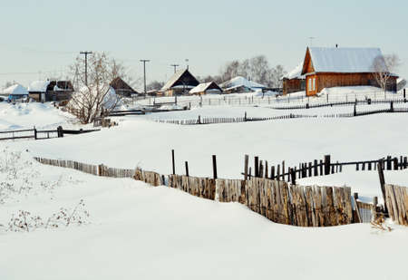at came: The frosty winter came to the villages of Altai Stock Photo