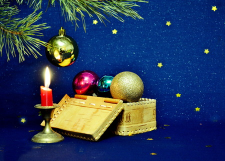 blazes: On colorful postcard is typed burning new year s candle