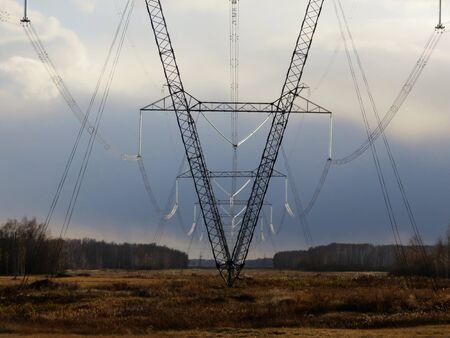distances: Electric full tilts pass on steppe on greater distances  Stock Photo