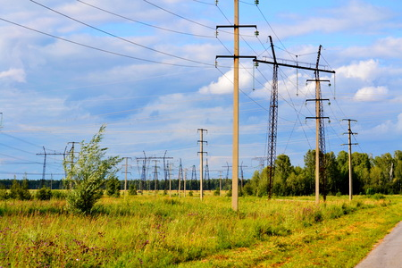 Electric substations supply current Stock Photo