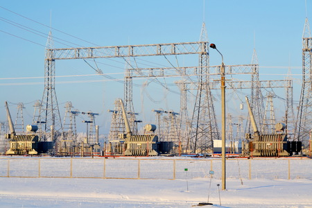 Electric substations supply current 스톡 콘텐츠