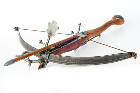 crossbow: old crossbow on white background Stock Photo