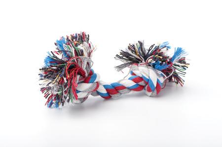 Rope dog toy close-up on white background